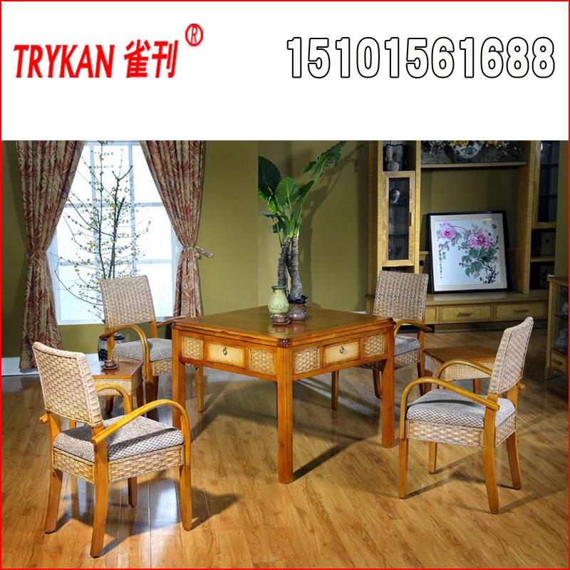 雀刊K921藤艺餐桌式麻将桌
