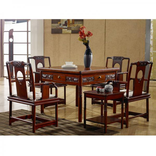家用中式餐桌实木麻将桌