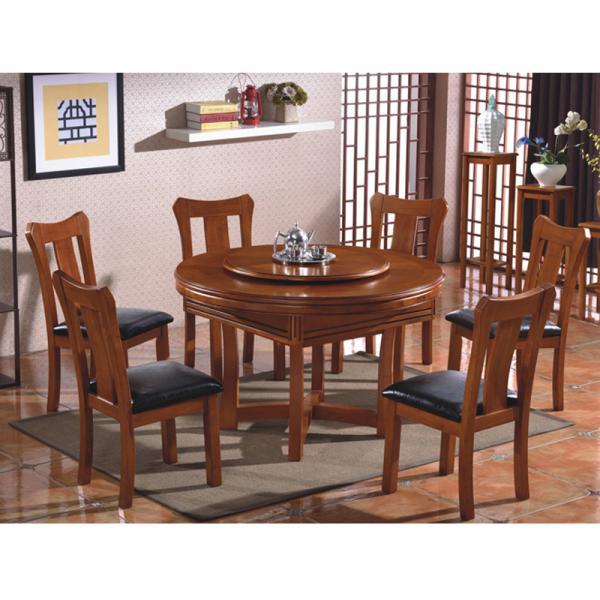 克罗地亚实木圆形餐桌两用麻将桌麻将机