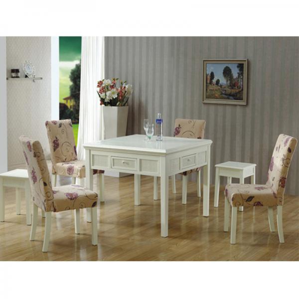 乡村风情白色欧式餐桌两用麻将机麻将桌