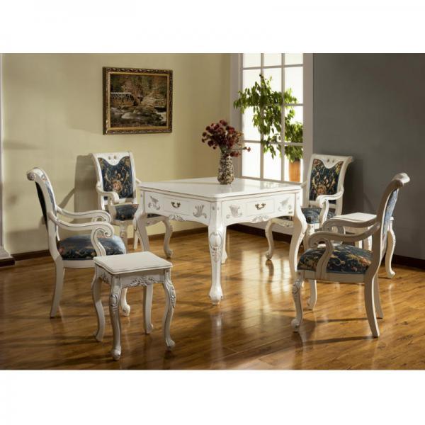 塞拉利白色欧式餐桌两用实木麻将机