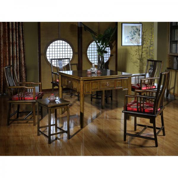 新明式茶青色实木餐桌两用麻将桌