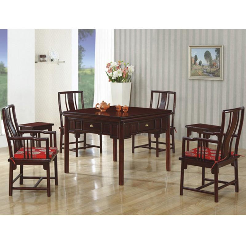翰林居实木中式红色餐桌两用麻将桌