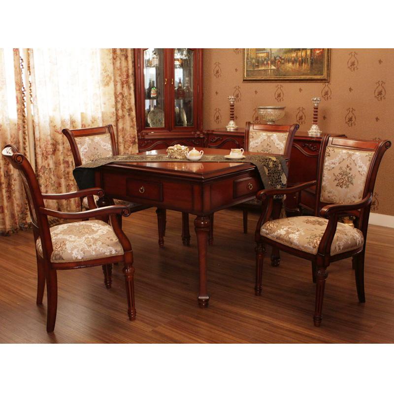 路易十六七件套实木餐桌两用麻将机