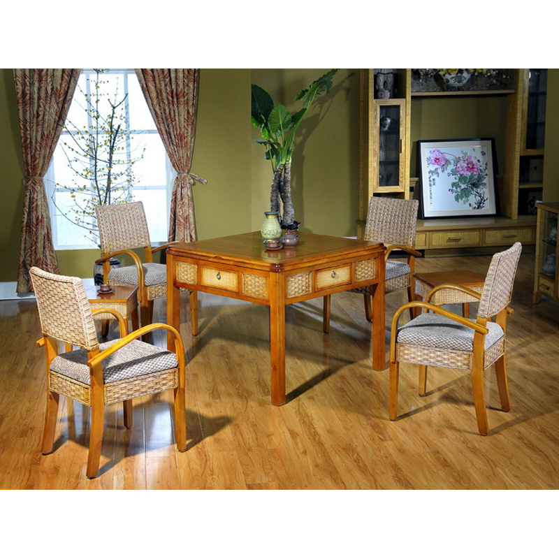 巴丹藤艺麻将桌茶楼家用餐桌麻将桌